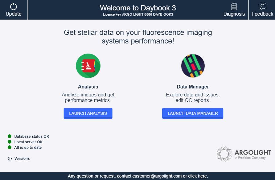 Screenshot of Argolight Daybook software launcher