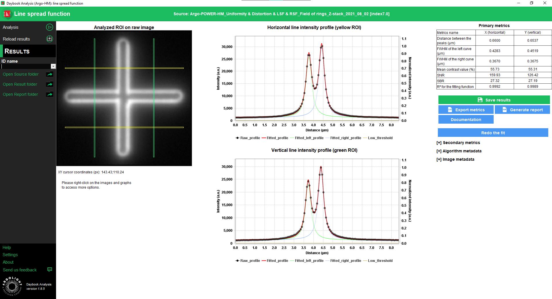 Line spread function test result window