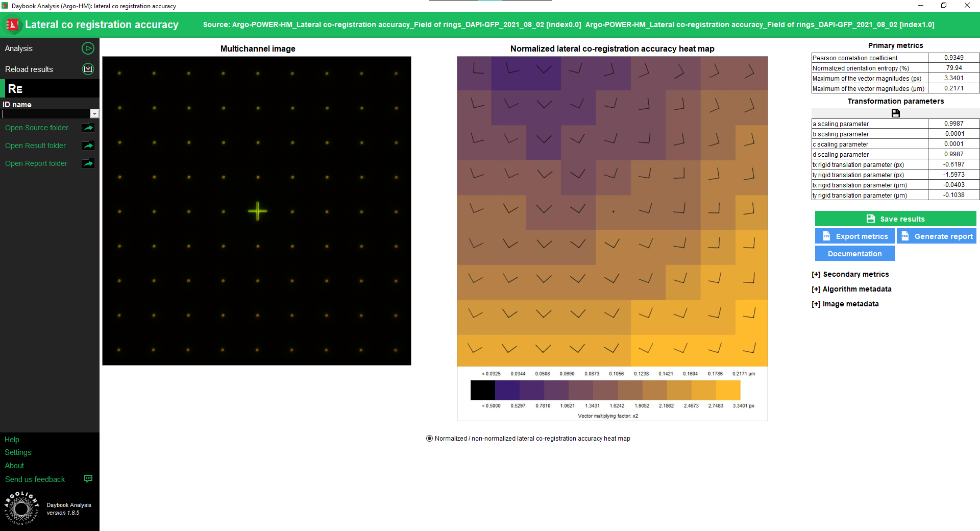 Lateral Chromatic shifts test result window