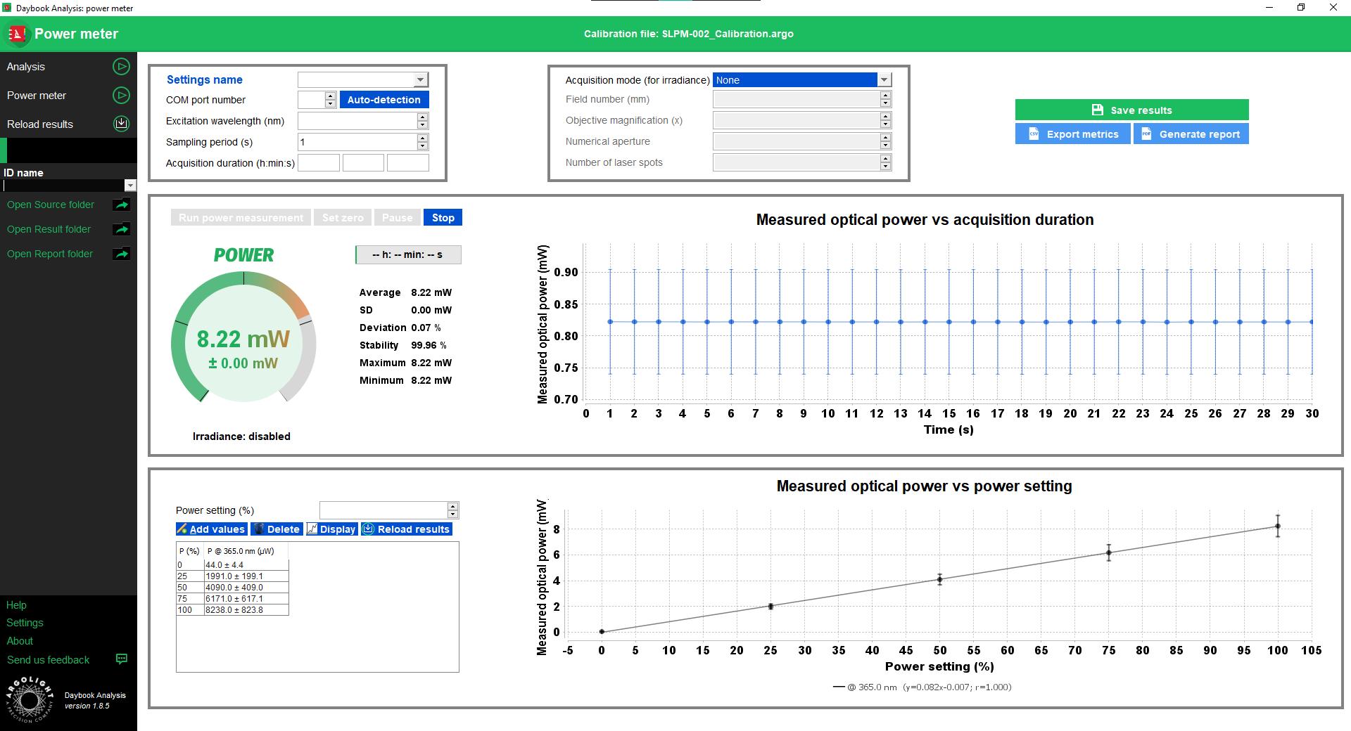 Spectral response test result window