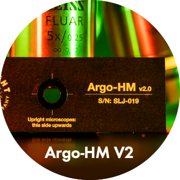 Photo of Argo-HM package including slide and box